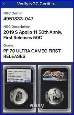 2019-S Apollo 11 50th Anniversary Set Reverse Proof Kennedy Half Dollar NGC PF70
