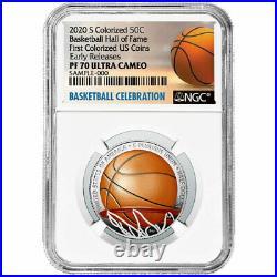 2020-S Proof 50c Basketball Hall of Fame Half Dollar Colorized NGC PF70UC ER Bas
