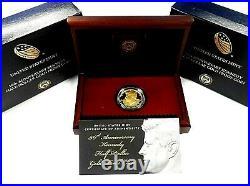(5 Ea) 2014-w Proof Kennedy 50th Anniversary 24 Kt Gold Half Dollar-unopened Box