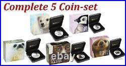 Complete 5-Coin set 2017 Polar Babies 2.5 oz Silver Proof 50c Half Dollar
