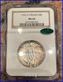 GORGEOUS TONED 1926 S Oregon Half Dollar NGC MS 63 CAC